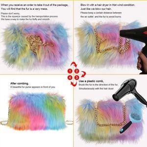 Bags - Faux Fur Purse Fuzzy Shoulder Bags